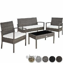 Poly Rattan Garden Furniture 2 Chaises Table De Banquette Ensemble Extérieur Patio Wicker Grey
