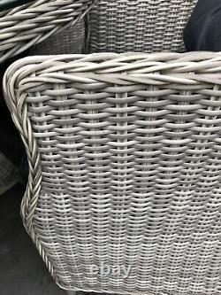 Premium Grey Rattan Garden 7 Sièges Énorme Table À Manger Patio Set Parasol 4k Nouveau