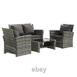 Rattan 4 Seater Lounge Canapé Chaise Patio Meubles De Jardin Extérieur Avec Coussins