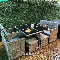 Rattan 8 Seater Garden Meubles De Salle À Manger Cube Canapé Set Table Extérieur Patio Gris