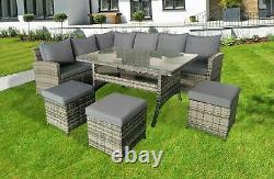 Rattan 9 Seater Corner Group Meubles De Jardin Ensemble De Canapés Pour Table À Manger Extérieure