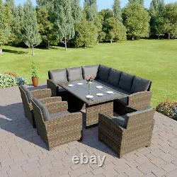 Rattan Dining Furnitue Set 9 Sièges Grey Black Brown Outdoor Table And Chair