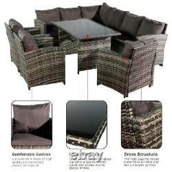 Rattan Dining Table Arm Chair Sofa Garden Furniture Set Grey Black Brown 9 Sièges