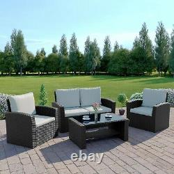Rattan Garden 4 Seater Set Grey Black Brown Weave Sofa Patio Fauteuil Table
