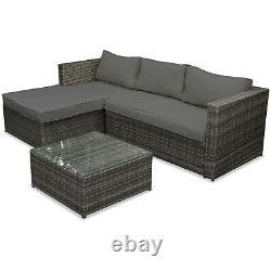Rattan Garden Corner Sofa Chaise De Table Meubles Ensemble Grey Patio Sièges Extérieurs