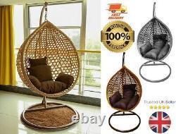 Rattan Garden Egg Chaise Suspendu Swing Cocoon Patio Extérieur Gris/brun/ Wicker
