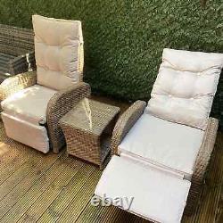 Rattan Garden Fauteuil Inclinable Chaise De Meubles Réglable Table Conservatoire Uk