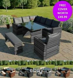 Rattan Garden Furniture 9 Seater Corner Dinning Set Fauteuil & Banc Couverture Gratuite