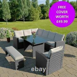 Rattan Garden Furniture 9 Seater Corner Table À Manger Banc & Fauteuil Couverture Gratuite