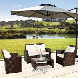Rattan Garden Furniture Conservatory Sofa Set 4 Seat Table Chair Fauteuil Patio