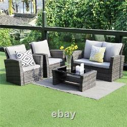 Rattan Garden Furniture Lounge Set Dark Grey Outdoor Sofa Chair Corner Patio