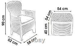 Rattan Garden Meubles Patio Set Table & Chaises Set 2 Chaises & Coussins De Jardin