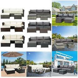 Rattan Garden Meubles Set Corner Canapé Table En Verre Brun/noir Confort Extérieur