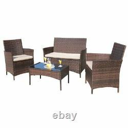 Rattan Garden Patio Meubles 4pc Set Outdoor-2 Chaises1 Canapé Et Table Uk Seller