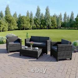 Rattan Garden Patio Meubles Conservatory Sofa Table Set 4 Piece Armchair