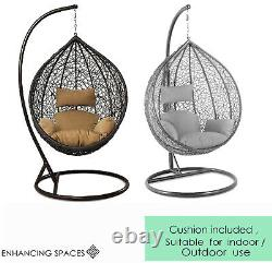 Rattan Garden Suspension Egg Chaise Egg Swing Chaise Relaxing Patio Hammock W Coussin