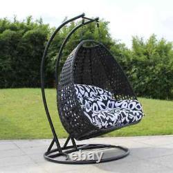Rattan Garden Suspension Egg Swing Chaise Avec Coussin (grande Double Assise)