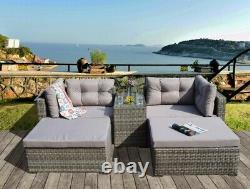 Rattan Garden Wicker Outdoor Sun Lounger Sofa Meubles Set Cube Corner Dining