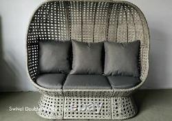 Rattan Wicker Cocoon Double Egg Chaise Plancher Standing Garden Ou Intérieur Gris