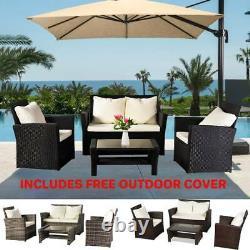 Rattan Wicker Weave Garden Furniture Conservatory Sofa Set 4 Seater Couverture Gratuite