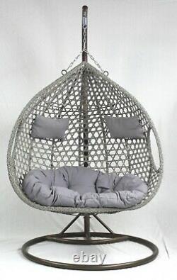 Savani Rattan Swing Premium Double Suspension Egg Chaise Jardin Intérieur Extérieur Gris
