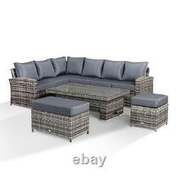 Sofa D'angle D'harmonie Avec La Table Montante, Le Banc Et Le Rotin Gris De Tabouret 10 Places