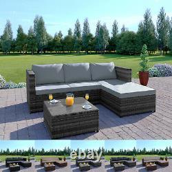 Sofa D'angle De Jardin De Rotin Et Chaise De Meubles De Patio De Table Ensemble Brun Gris Noir