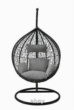 Suspension Egg Chaise Swing Hamac Coussin Rattan Wicker Intérieur Extérieur Gris
