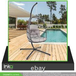 Suspension Pliant Egg Cocoon Style Garden Chaise Swing Sturdy Steel Frame Grey