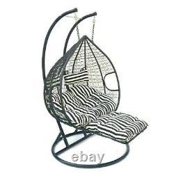 Suspension Rattan Swing Patio Garden Chaise Weave Egg W Coussins Repose-pieds Rain Cover