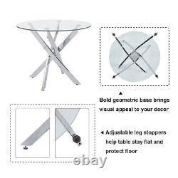 Table À Manger En Verre Et 2/4 Chaises Faux Suede Coussined Cross Legs Kitchen Sets