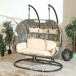Triple Cocoon Chair Swing Wicker Rattan Hanging Garden Furniture Coussin
