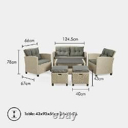 Vonhaus Rattan Garden Furniture Set 6 Seater Outdoor Canapé Set Étanche